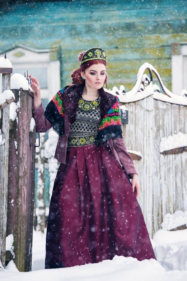 一件华美的少妇佩带的俄国样式礼服的画象在强的霜的在篱芭附近的一冬天多雪的天 库存图片