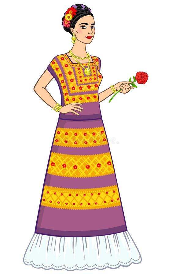 一件古老礼服的美丽的墨西哥女孩有一朵玫瑰的在手上 皇族释放例证