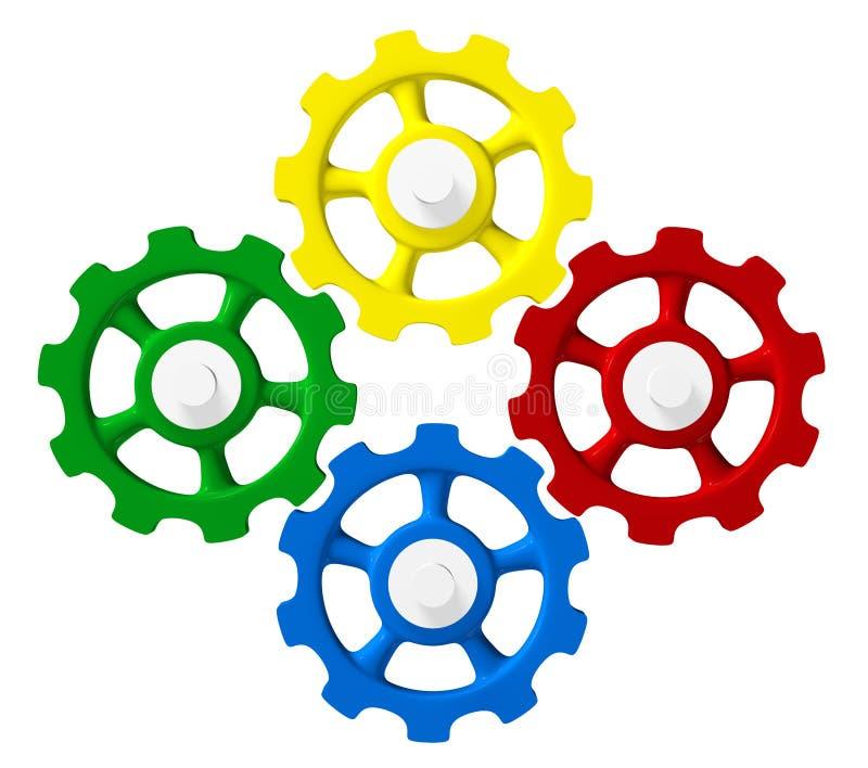 一致四个五颜六色的齿轮 向量例证