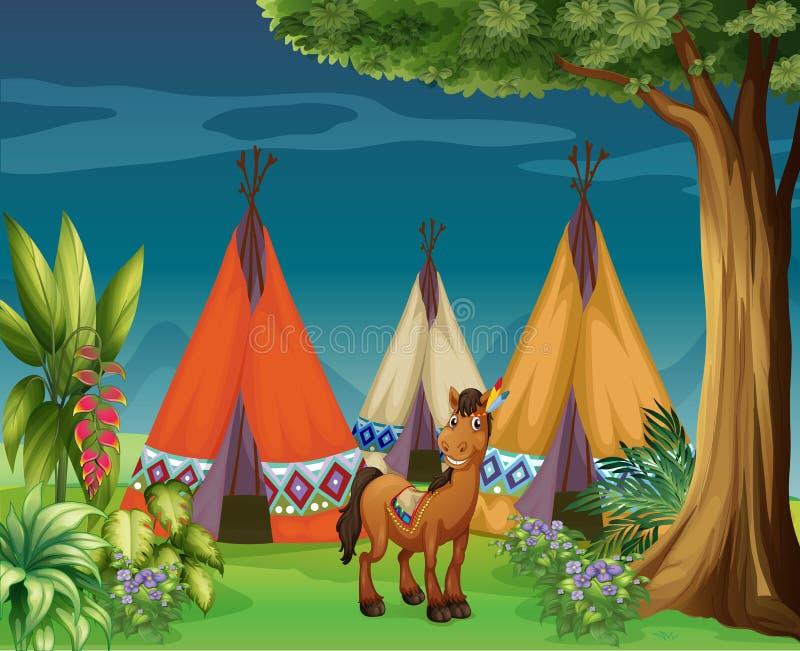 一头驴在森林 向量例证