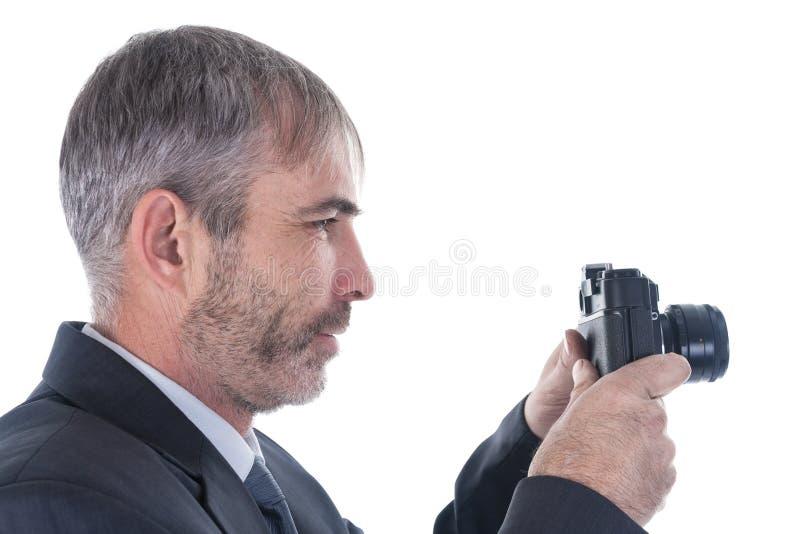 有照相机的一个人 免版税库存照片