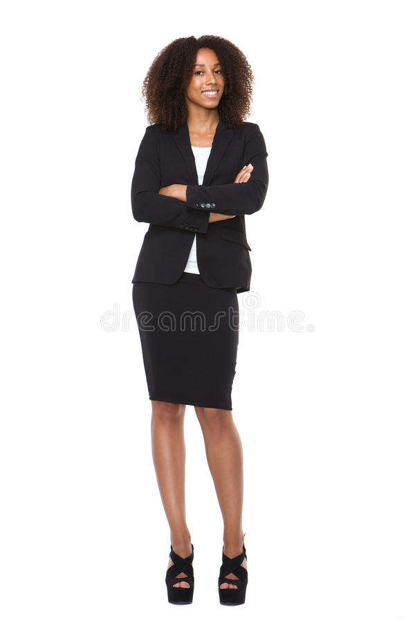 一年轻女商人微笑的充分的身体画象 库存图片