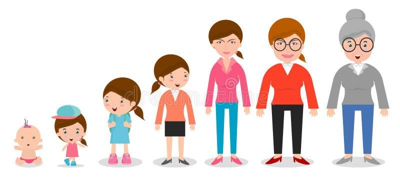 一代妇女从婴儿到小辈 所有年龄类别 隔绝在白色背景,一代从婴儿的妇女 库存例证