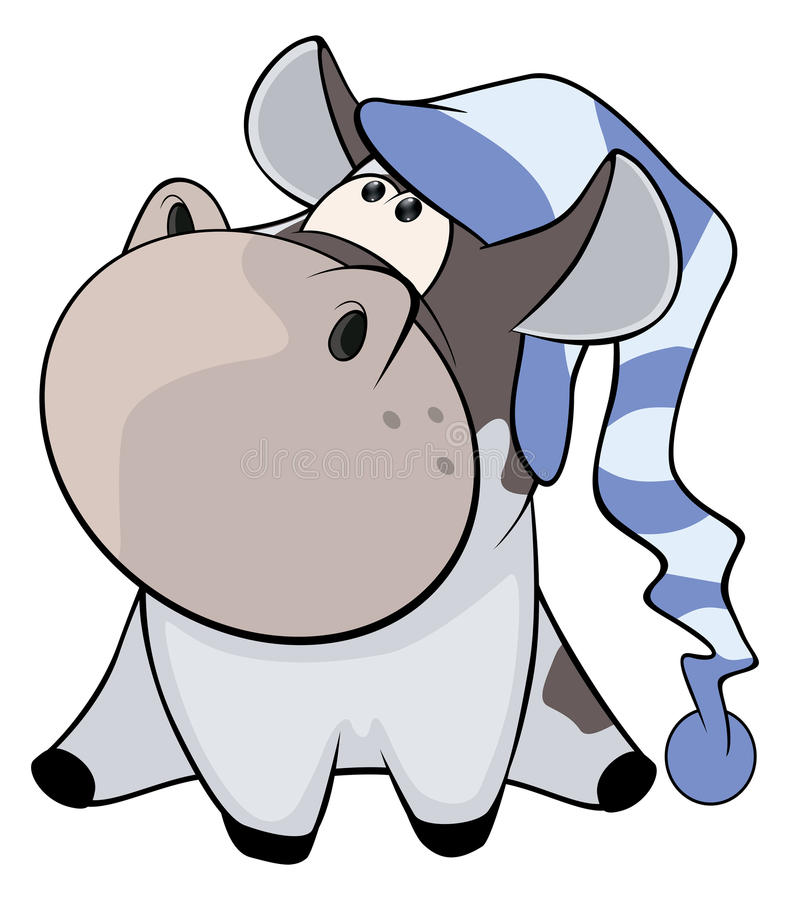 一头小母牛 动画片 向量例证