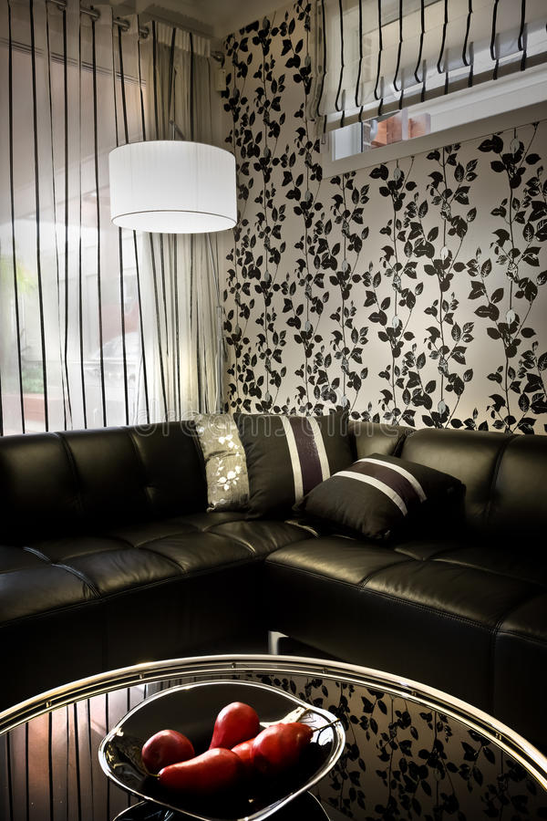 一间屋子的一个美好的时髦和浪漫喜怒无常的图象有sof的 库存图片
