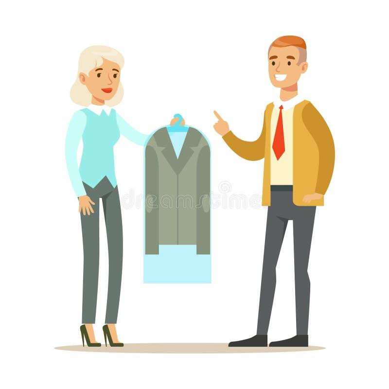 给一件干净的衣服夹克的女雇员人客户,使用衣物干洗专业服务的一部分的人 库存例证