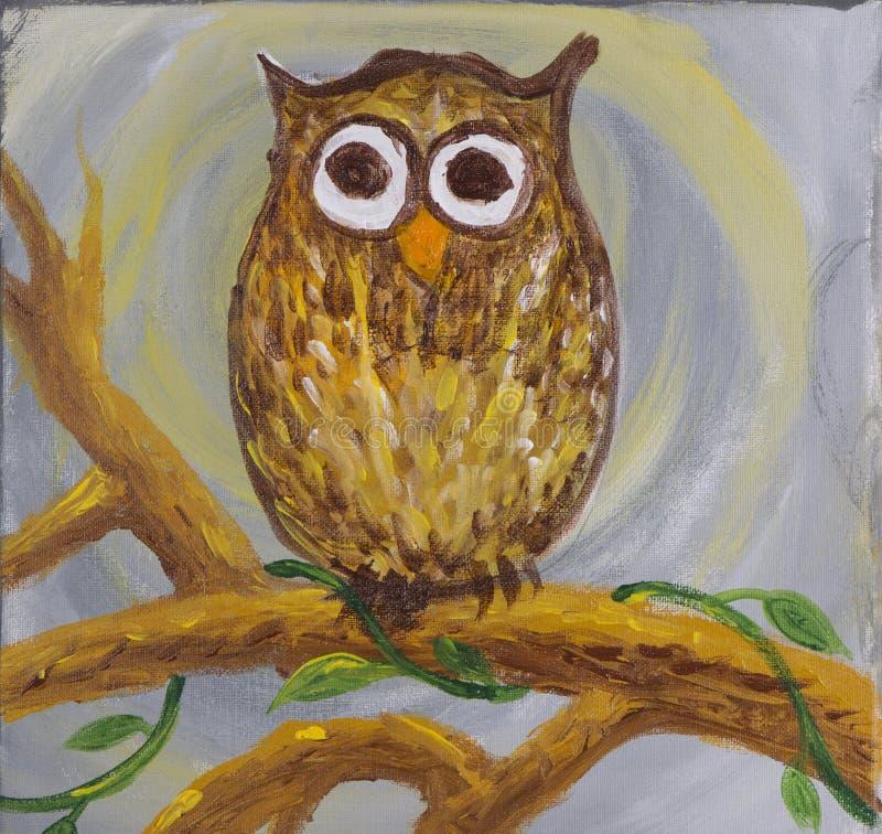 一头惊奇的看的猫头鹰的绘画与大圆的眼睛的 库存例证
