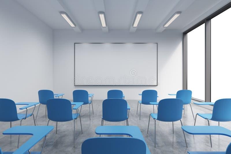 一间教室或介绍屋子在一个现代大学或花梢办公室 蓝色椅子、一whiteboard在墙壁上和全景windo 向量例证