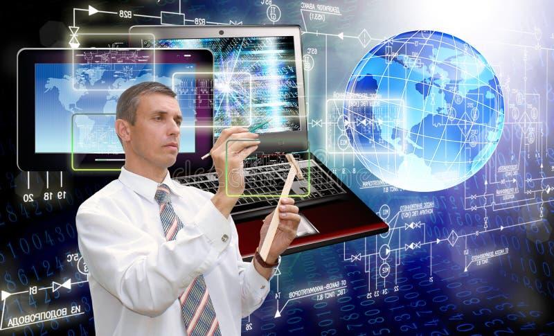 一代新的计算机科技 连接数 免版税库存照片