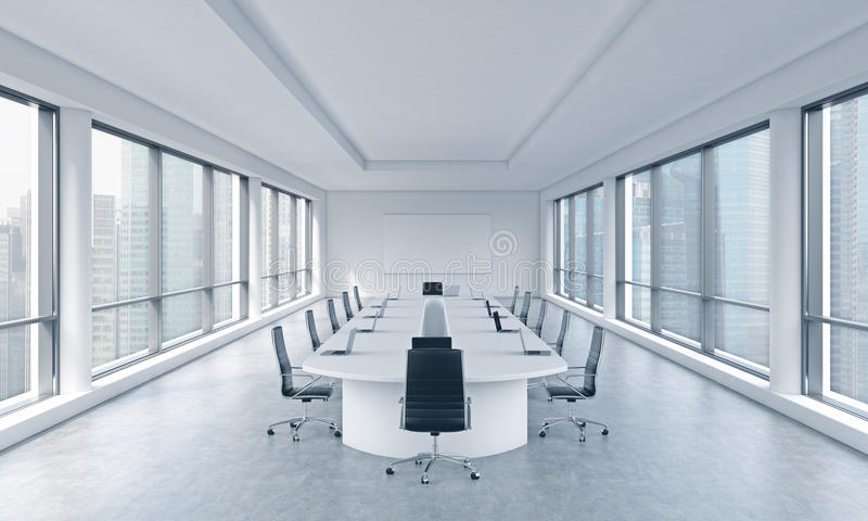 一间明亮的现代全景会议室在一个现代办公室有新加坡视图 理事的会议的概念 库存例证