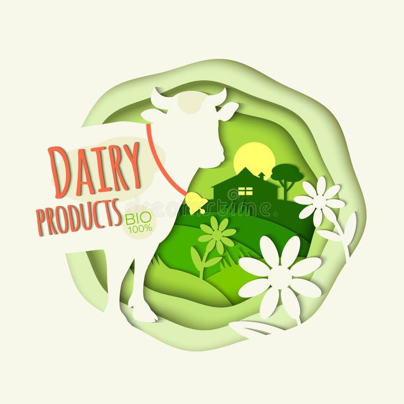 一头母牛在一个农村风景和题字的背景中 皇族释放例证