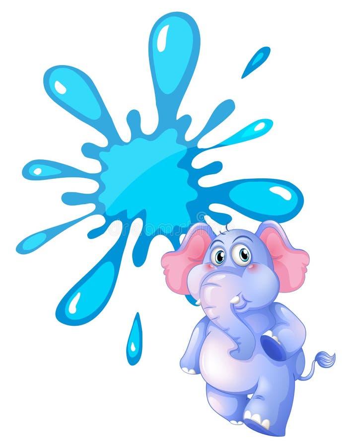 一头灰色大象和一块空的蓝色模板 向量例证