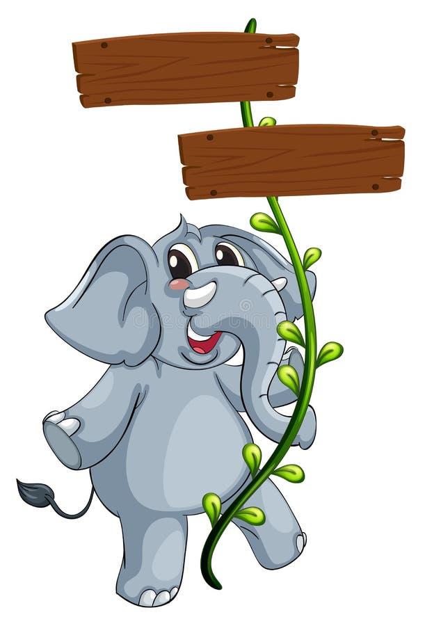 一头灰色大象和藤植物与牌 向量例证