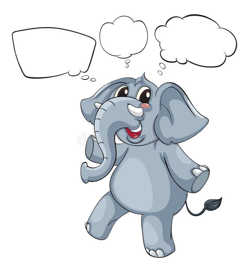一头灰色大象的空的想法 向量例证