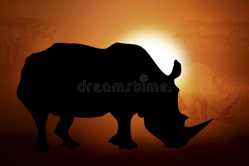 一头犀牛的剪影在日落的 向量例证