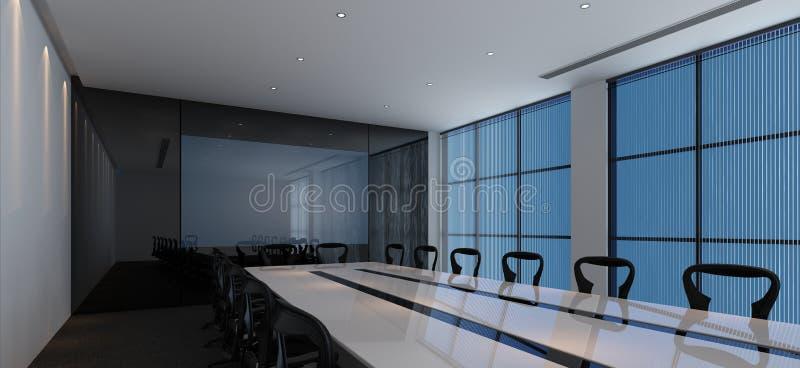 一间现代会议室的内部 向量例证