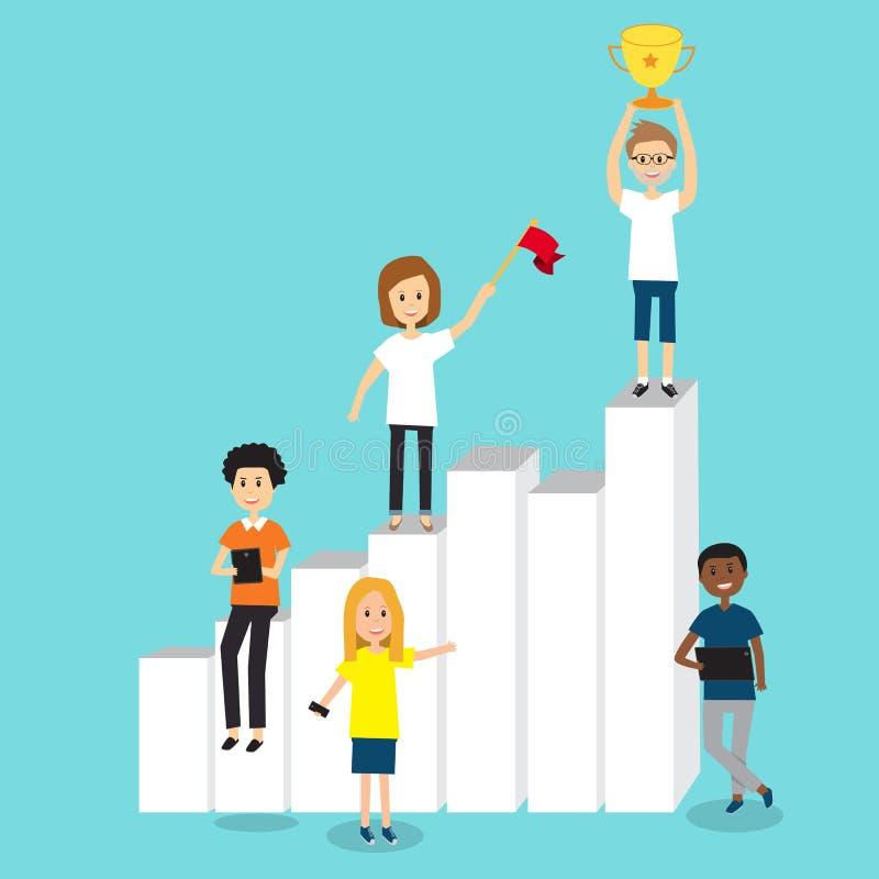 一代的Z人们为成长和成功合作在事务c 库存例证