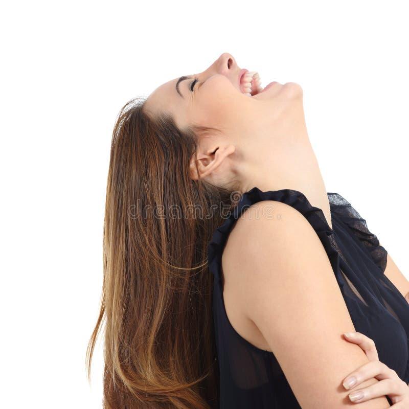 一滑稽妇女笑的画象 免版税库存图片