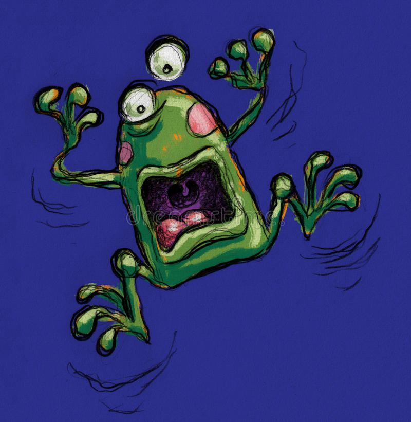 极度兴奋的青蛙 皇族释放例证