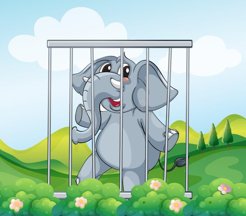 一头笼中的灰色大象 向量例证