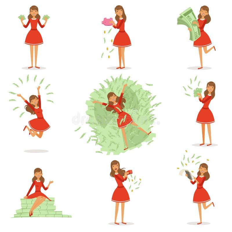 一件红色礼服的愉快的年轻富有的妇女享用她的金钱,套的五颜六色的详细的传染媒介例证 向量例证