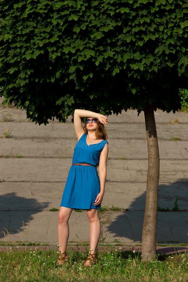 一件蓝色礼服的女孩公园 免版税库存图片