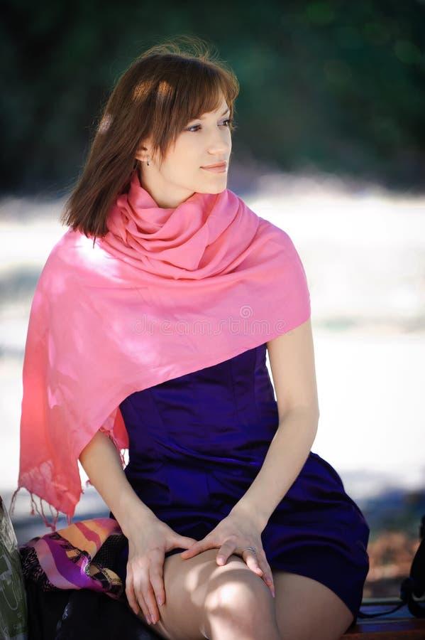 一件蓝色礼服的美丽的妇女坐一条长凳在公园 图库摄影