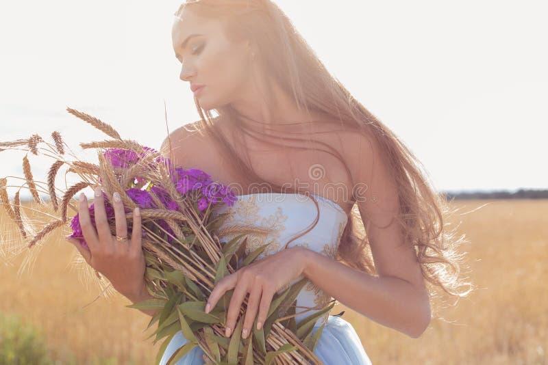 一件蓝色礼服的美丽的性感的女孩有长的头发的,拿着耳朵和桃红色花架花束在一个领域与黑麦太阳在 免版税库存照片