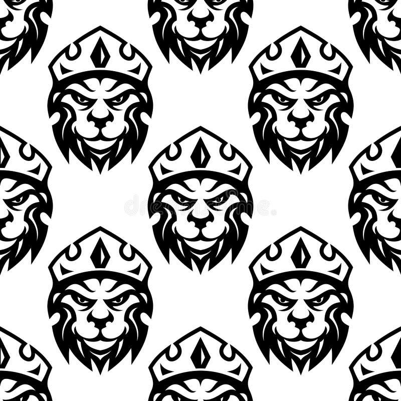 一头被加冠的皇家狮子的无缝的样式 库存例证