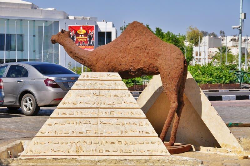 一头骆驼的雕象在Sharm El谢赫,埃及 免版税图库摄影