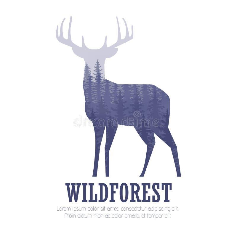 一头鹿的剪影与杉木森林,蓝色和白色的上色背景 向量例证