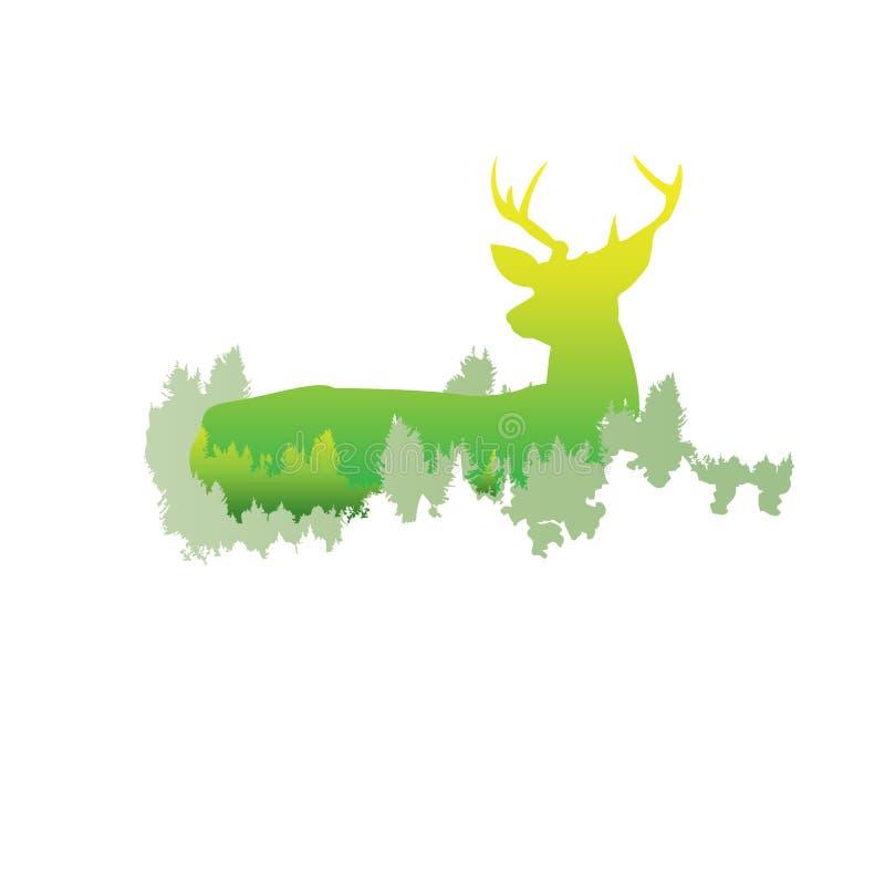 一头鹿,明亮的颜色/anim的剪影在杉木森林里面的 向量例证