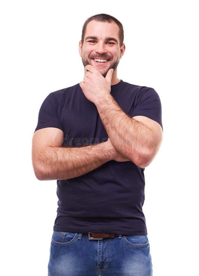 一件黑T恤杉的人 免版税库存图片