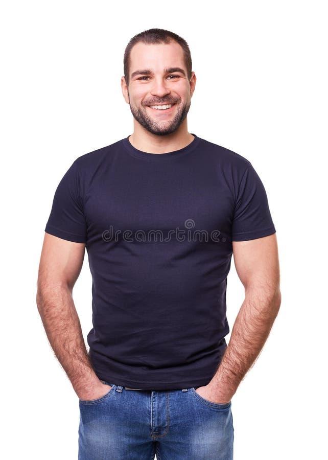 一件黑T恤杉的微笑的人 图库摄影