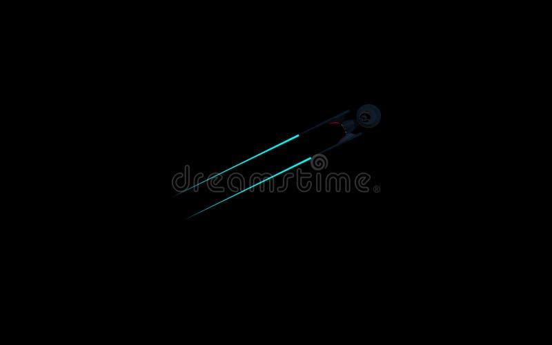 一starship的科学虚构的图象在外层空间和黑背景的 Wallpeprer 皇族释放例证