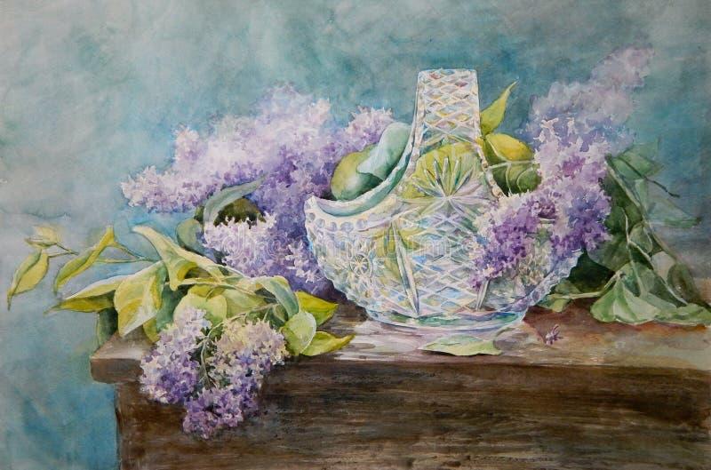 图片水晶在一个歌曲丁香的丁香花分支花瓶图片