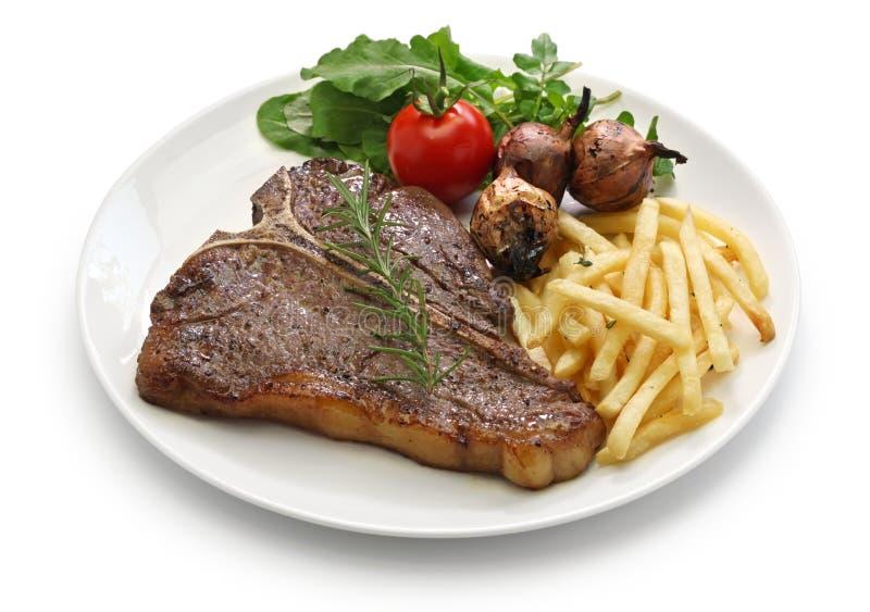 丁骨牛排,上等腰肉牛排, bistecca alla fiorentina 免版税库存图片