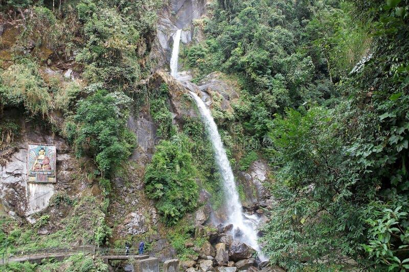 七个姐妹瀑布,锡金,印度 库存照片