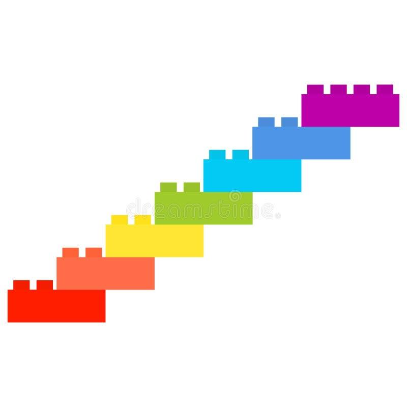 七个设计师细节,彩虹颜色楼梯  皇族释放例证