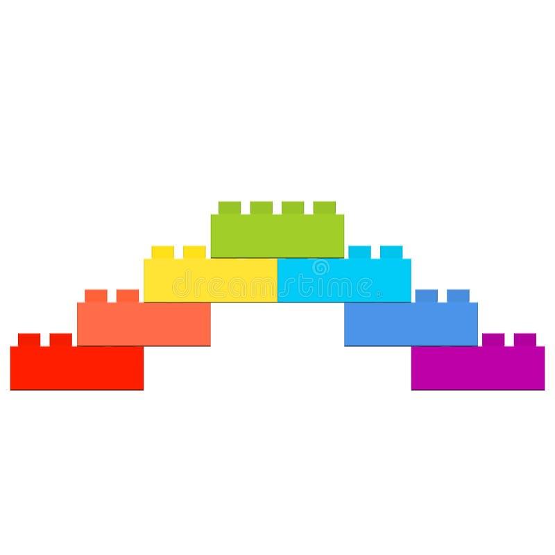 七个设计师零件金字塔,上升和下降,彩虹的颜色 库存例证
