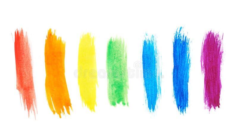 七个水彩油漆冲程 库存图片