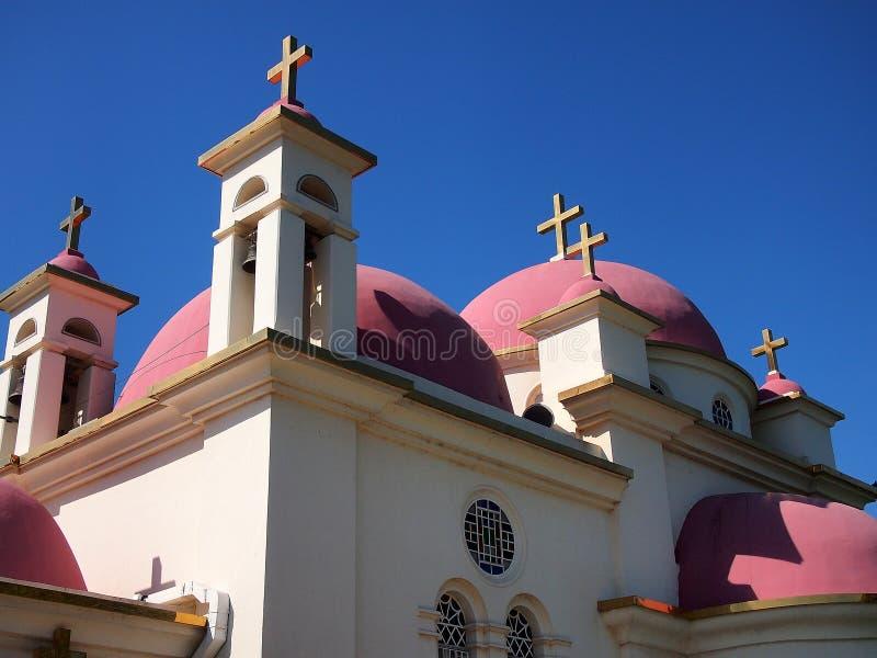 七位传道者的教会, Capernaum 库存照片