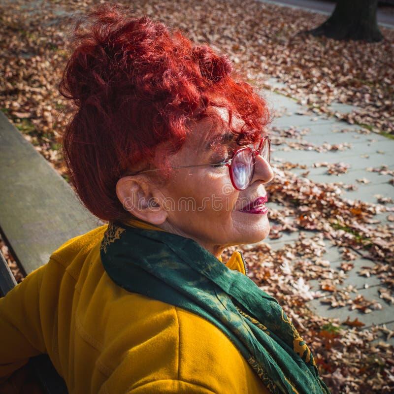 七十个加号的亚裔可爱的资深妇女画象与坐在秋天公园的红色卷发的 图库摄影