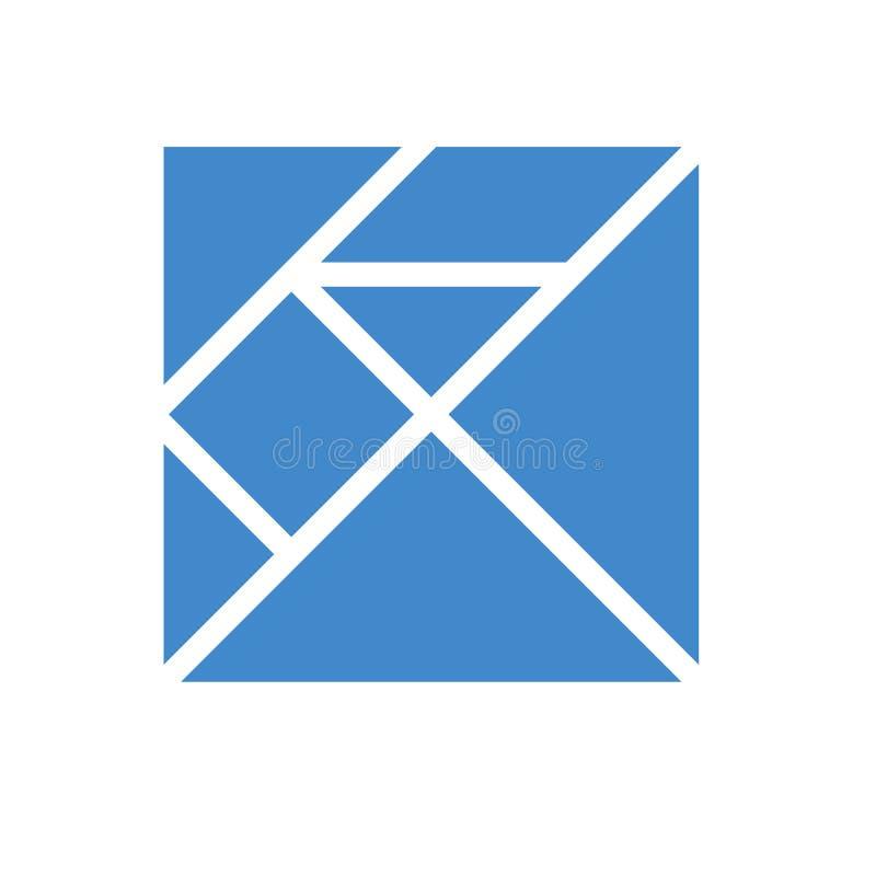 七巧板 传统中国解剖难题,七个铺磁砖的片断-几何形状:三角,方形的菱形,平行四边形 向量例证