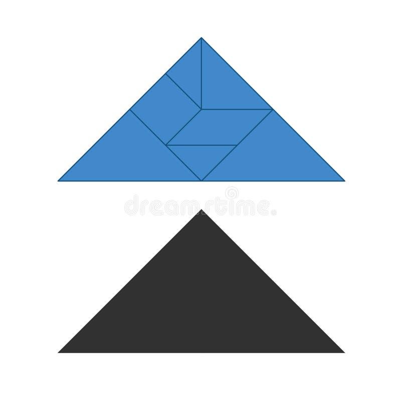 七巧板 传统中国解剖难题,七个铺磁砖的片断-几何形状:三角,方形的菱形,平行四边形 库存例证