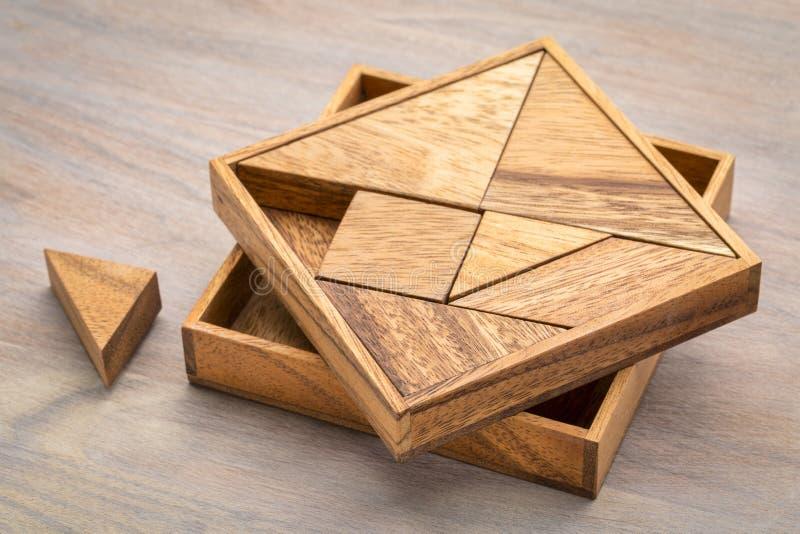 七巧板-难解之谜比赛 库存照片