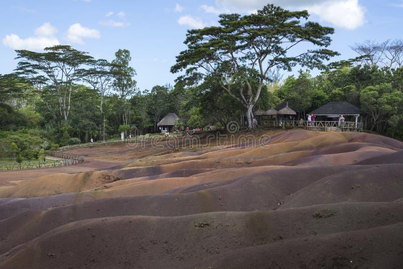 七色的地球, Chamarel,毛里求斯 图库摄影