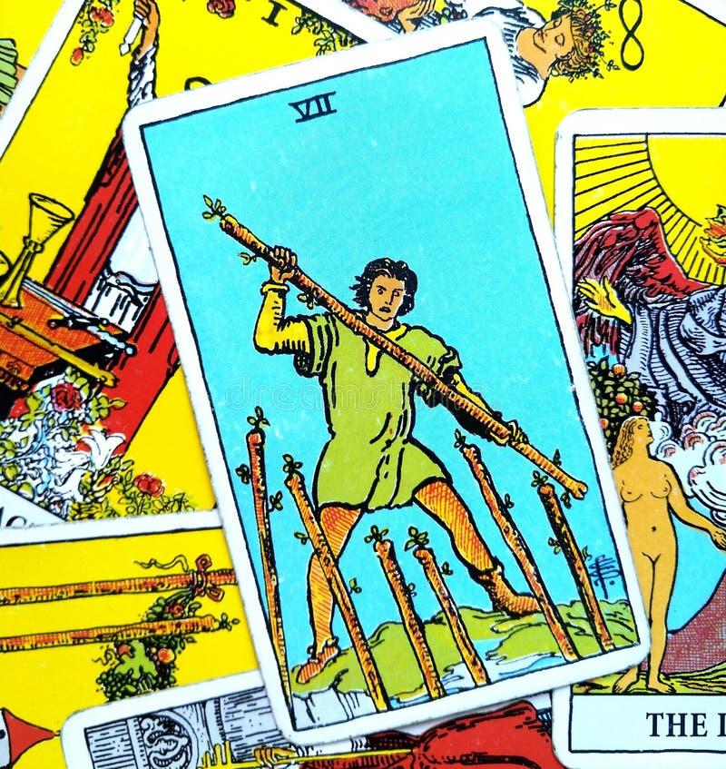 七VII鞭子占卜用的纸牌 库存例证