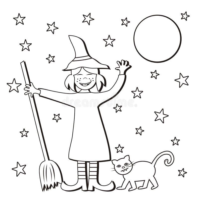 万圣夜、巫婆和猫 向量例证