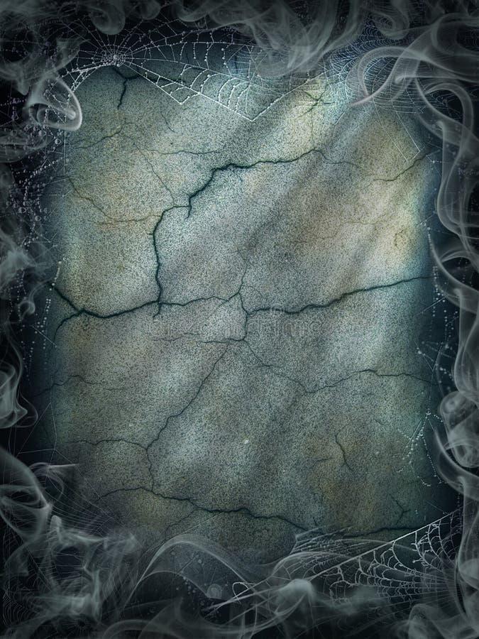 万圣夜不可思议的烟背景不可思议的黑暗的蜘蛛网 库存照片